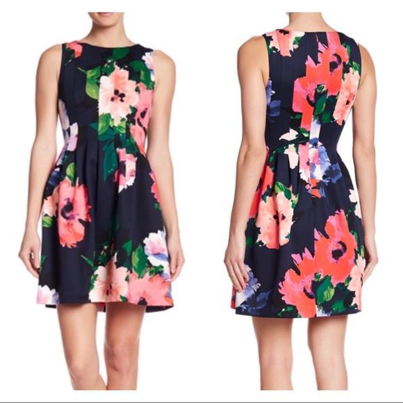 e47b8a284a4d86 Vince Camuto Floral Pintuck Scuba Dress Flowers. M_5b0785fd46aa7cf381206562